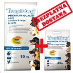 TROPIDOG PREMIUM  ADULT M&L - SALMON & RICE 15+2,5 kg