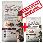 TROPIDOG PREMIUM  ADULT M&L - BEEF & RICE 15+2,5kg