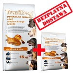 TROPIDOG PREMIUM  ADULT M&L - DUCK & RICE 15+2,5kg