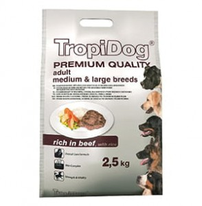 TROPIDOG PREMIUM  ADULT M&L - BEEF & RICE 2,5kg