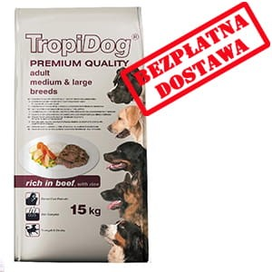 TROPIDOG PREMIUM  ADULT M&L - BEEF & RICE 12kg